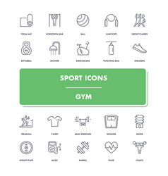 line sport icons set gym vector image