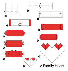 Make origami a family heart vector