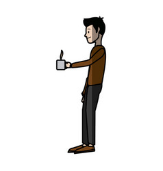 Man character standing holding coffee cup break vector