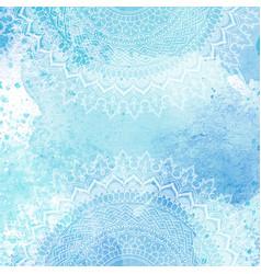 mandala design on watercolour texture vector image