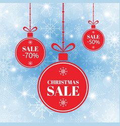 merry christmas and new year balls sale red xmas vector image
