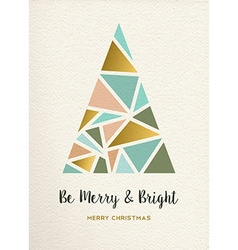 Merry christmas tree triangle gold vintage card vector
