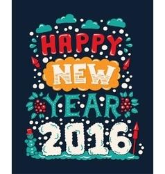 Modern flat design hipster New Year 2016 postcard vector image
