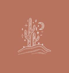 moon desert cactus folk art concept boho vector image