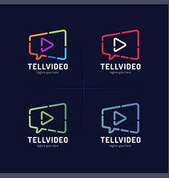movie chat logo template video camera and speech vector image