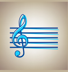 Music violin clef sign g-clef sky blue vector