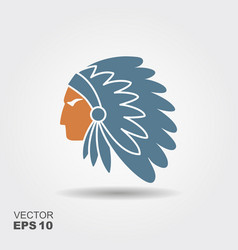 Native american indian chief with feather vector