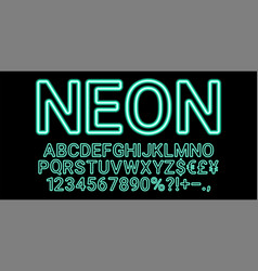 neon font in cyan color vector image