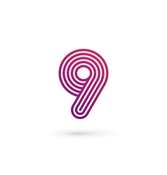 Number 9 logo icon design template elements vector