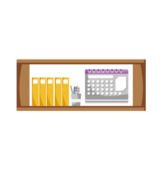 Office shelf with folders document and calendar vector