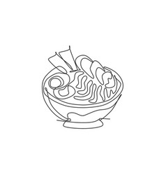 One single line drawing fresh japanese ramen vector