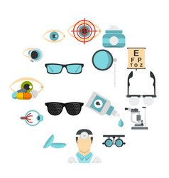 ophthalmologist tools set flat icons vector image