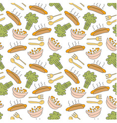 pattern seamless kids with breakfast doodle vector image