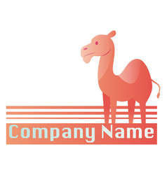 Pink camel with place for a text logo design vector