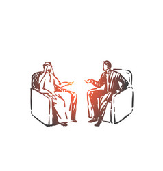 political meeting diplomacy concept sketch hand vector image