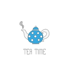 Polka dots teapot with tea on white background vector image