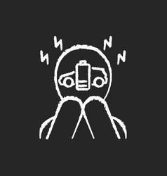 Range anxiety chalk white icon on black background vector