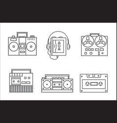 Retro tape recorder linear icon vector