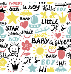 seamless baby pattern with words and inscriptions vector image