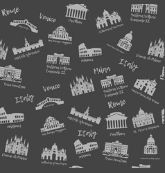 seamless pattern of italy building landmarks of vector image