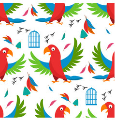 Seamless pattern parrot bird cell vector