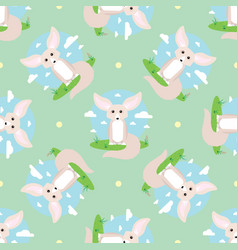 Seamless pattern with small cute fennec with big vector