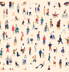 Seamless pattern with tiny people walking on vector