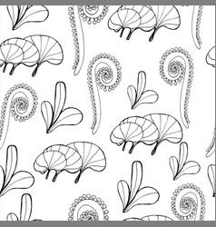seamless underwater pattern with hand-drawn black vector image