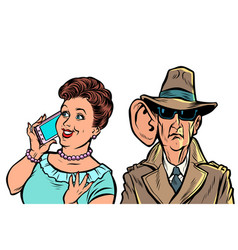 secret services state eavesdrop on vector image