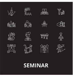 seminar editable line icons set on black vector image