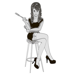 Sexy girl cook pose on a chair legs crossed vector