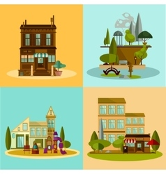 Shop and buildings set vector