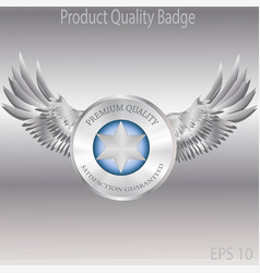 silver badge and emblems product quality vector image