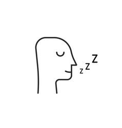 sleeping man thin line icon isolated on white vector image