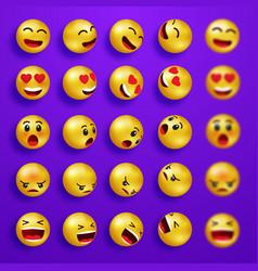 smile faces happy emoticons yellow 3d emoji set vector image