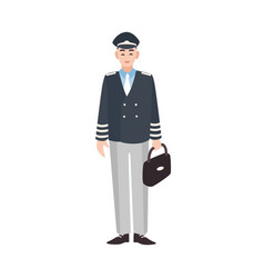 Smiling civilian aircraft pilot aircrew captain vector