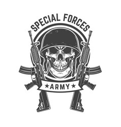 Soldier skull with assault rifles design element vector