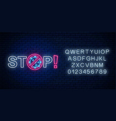 Stop text with coronavirus neon sign with vector