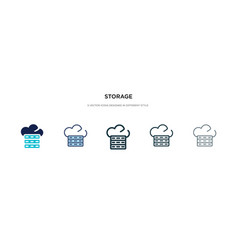 storage icon in different style two colored and vector image
