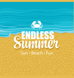 summer travel banner with inscription and crabs vector image