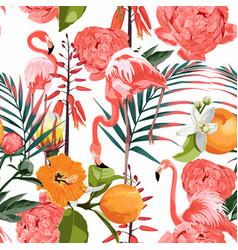 tropical orange flowers garden peony jungle vector image