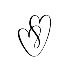 two black hearts sign icon on white vector image