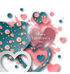 Valentines day background with cut paper heart vector