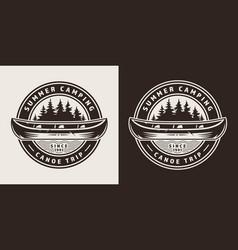 Vintage summer trip round emblem vector
