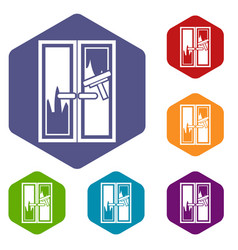 Window cleaning icons set vector