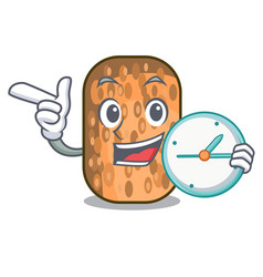 With clock fried tempeh in bowl character wooden vector