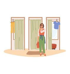 woman came out from fitting room shopping lady vector image