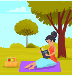 Woman is sitting on grass in summer city park and vector