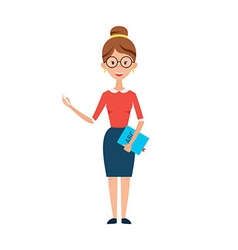 Woman teacher with glasses chalk and book vector