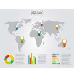 world map with infographic elements vector image